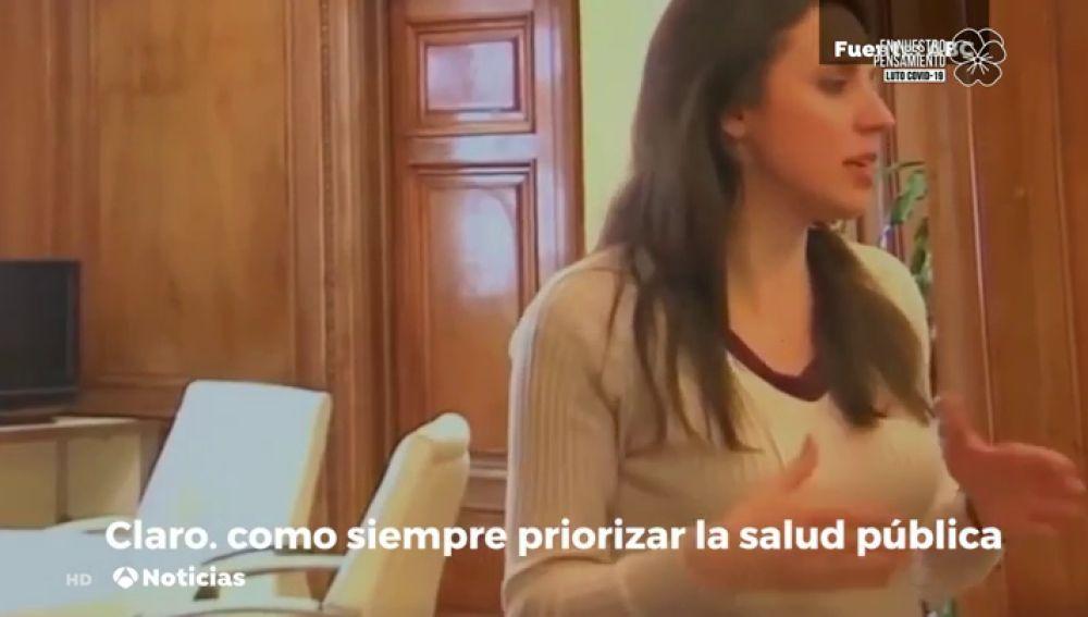 """Irene Montero, sobre la bajada de participantes en el 8-M: """"Fue por el coronavirus, pero no lo voy a decir"""""""