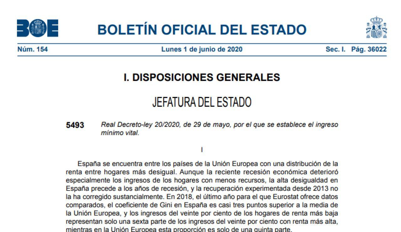 El Boletín Oficial del Estado publica los detalles del Ingreso Mínimo Vital que se pone hoy en marcha