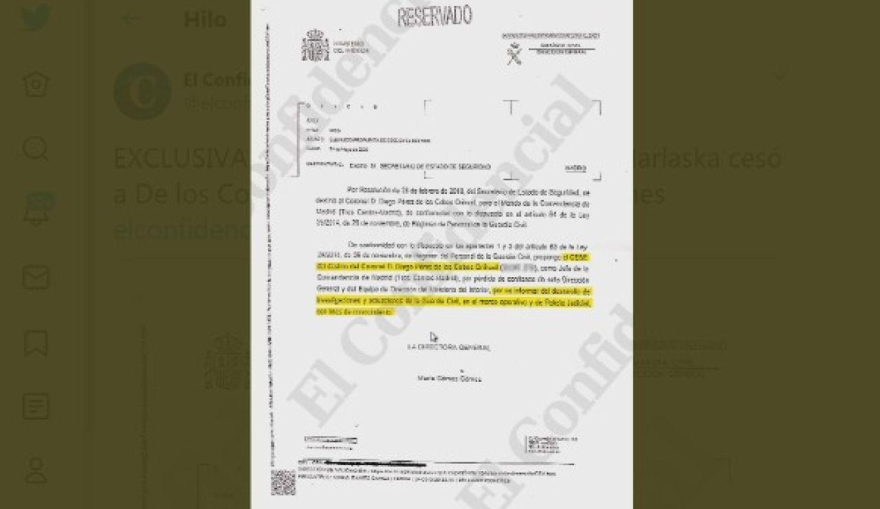 Informe reservado sobre el cese de Pérez de los Cobos