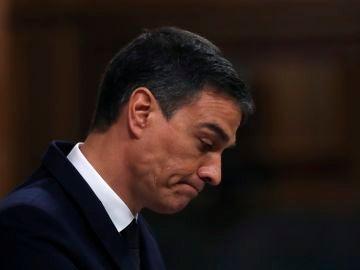 El presidente del Gobierno, Pedro Sánchez, durante el pleno del Congreso
