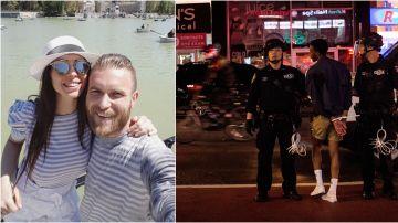 Tea Katay junto a su esposo y una imagen de las protestas en Nueva York