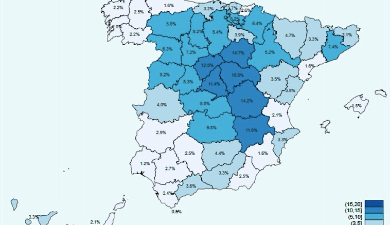 Mapa de España sobre la segunda oleada del estudio de seroprevalencia sobre el coronavirus