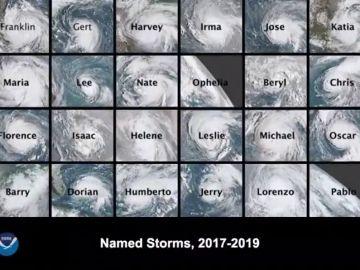 La animación de los 24 huracanes atlánticos desde 2017 a 2019