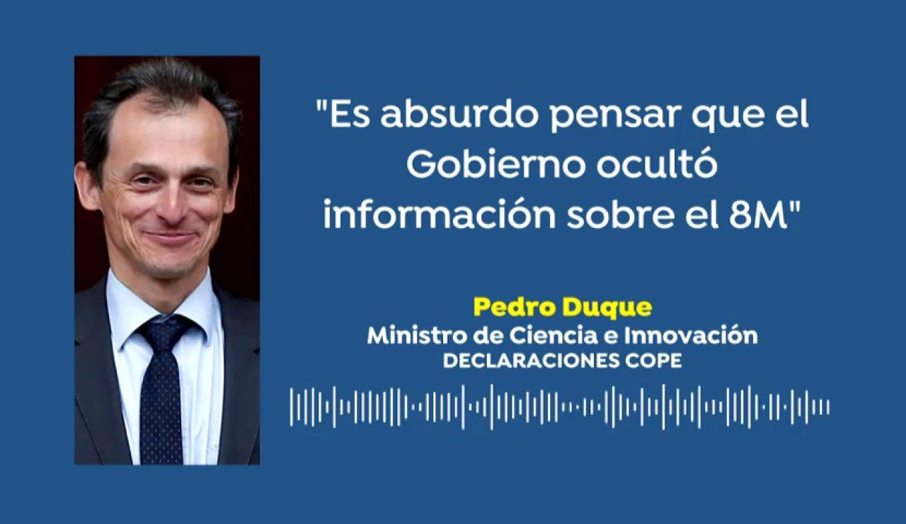 """Pedro Duque niega que el Gobierno ocultase información sobre el 8M: """"Es absurdo y destructivamente sectario intentar pensar eso"""""""
