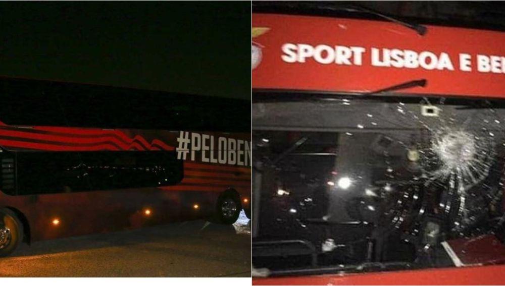 Aspecto del autobús del Benfica tras ser apedreado