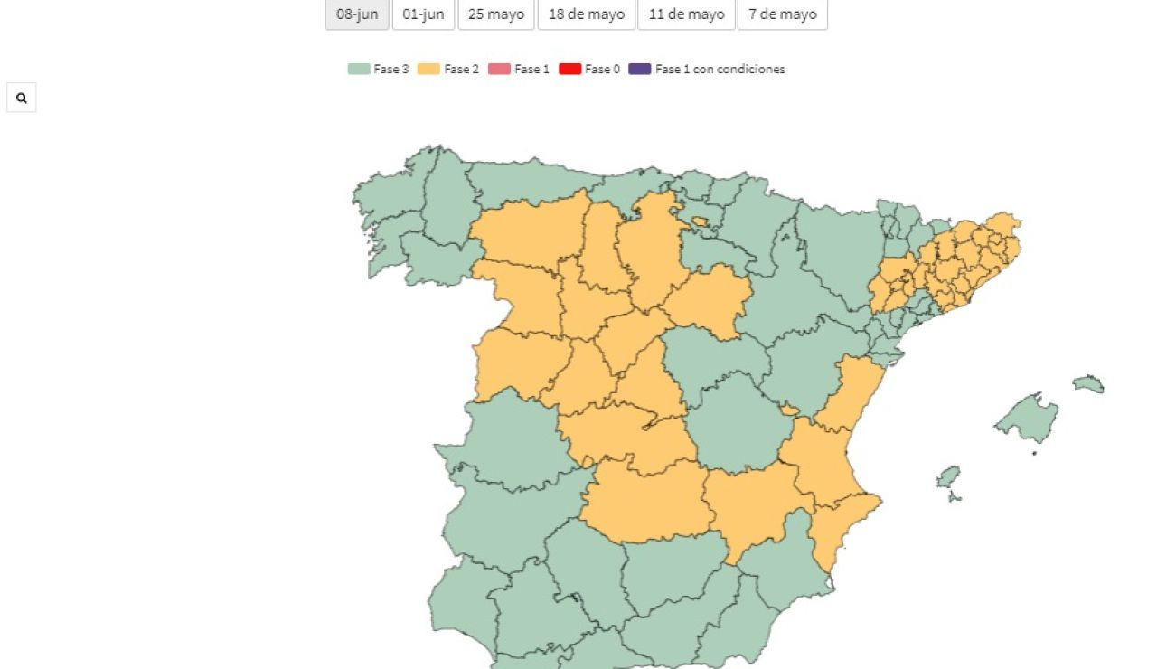 Mapa de España con las provincias en fase 2 y 3 de la desescalada