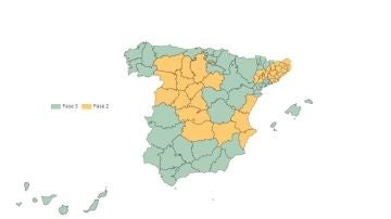 Mapa: España en fase 2 y 3