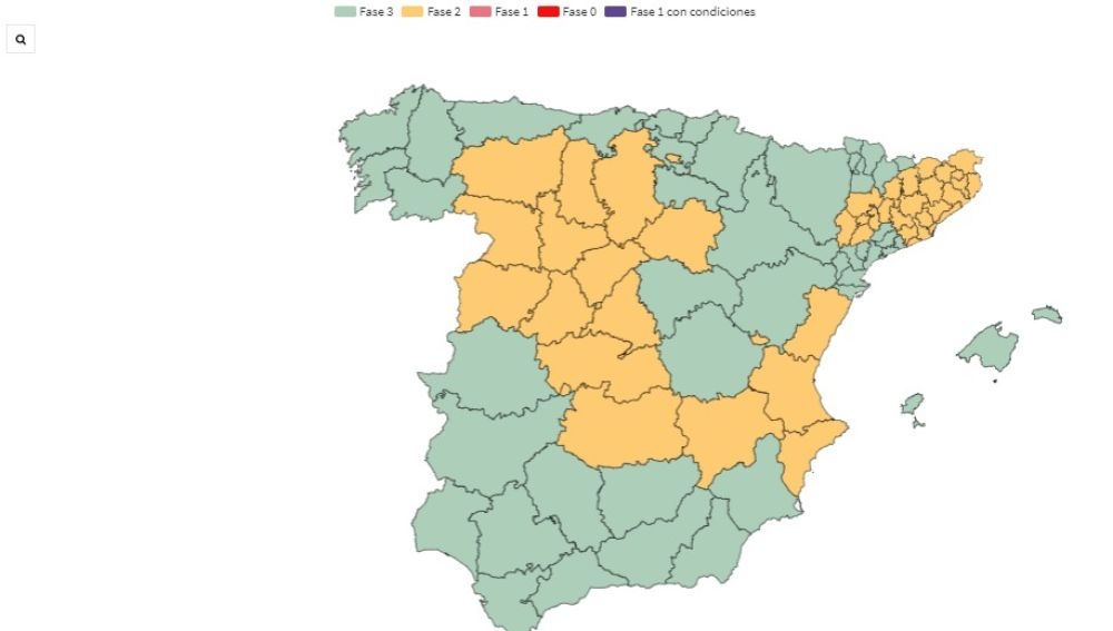 Mapa de la desescalada del coronavirus: provincias y territorios que pasan de fase