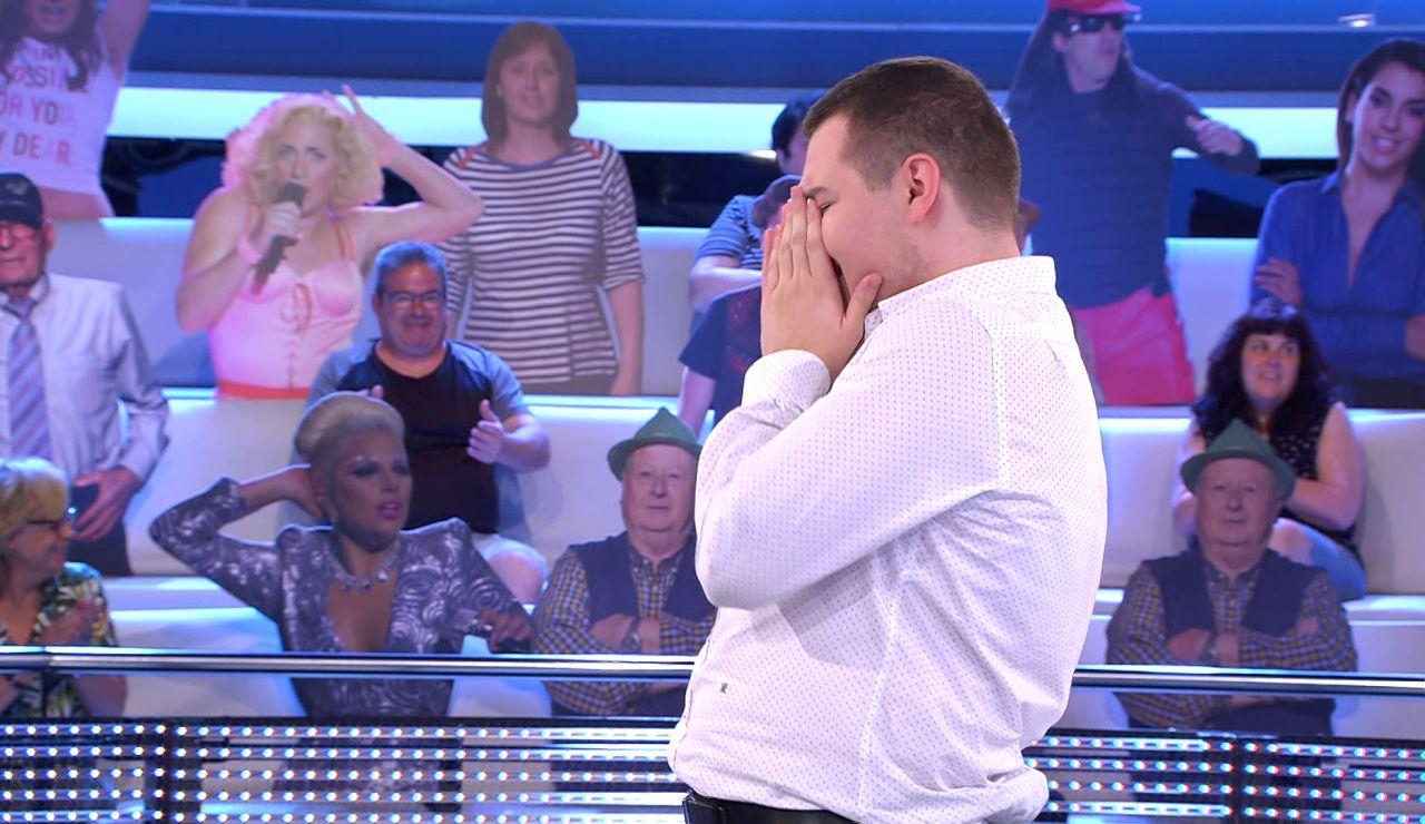 ¿Lágrimas de alegría o tristeza? Alberto se derrumba ante la alta tensión en el duelo final por 16.000 euros en '¡Ahora caigo!'