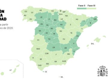 Nuevo mapa de España con las provincias en fase 2 y 3 de la desescalada