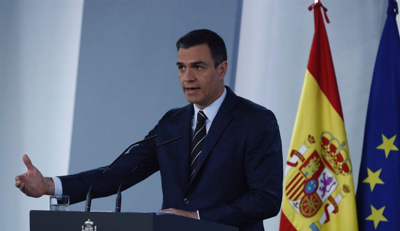 Pedro Sánchez durante la rueda de prensa posterior a la videoconferencia con los presidentes autonómicos