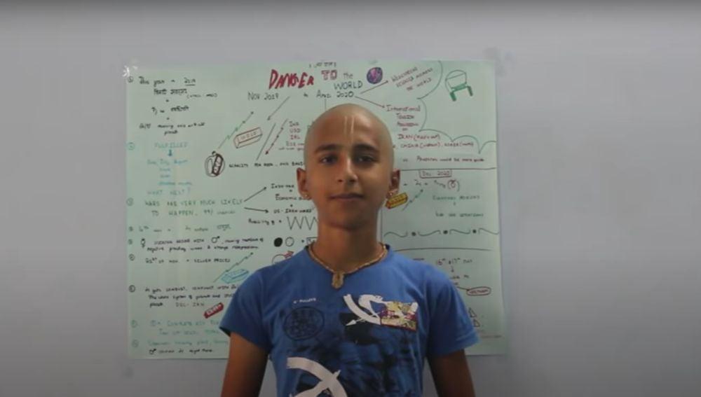 El joven Abhigya Anand, en un vídeo de Youtube