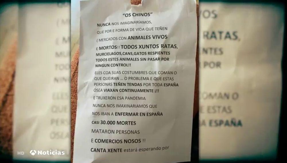 """Reparten panfletos a los vecinos de Moaña (Pontevedra) contra las tiendas de chinos: """"Son responsables de las muertes"""""""