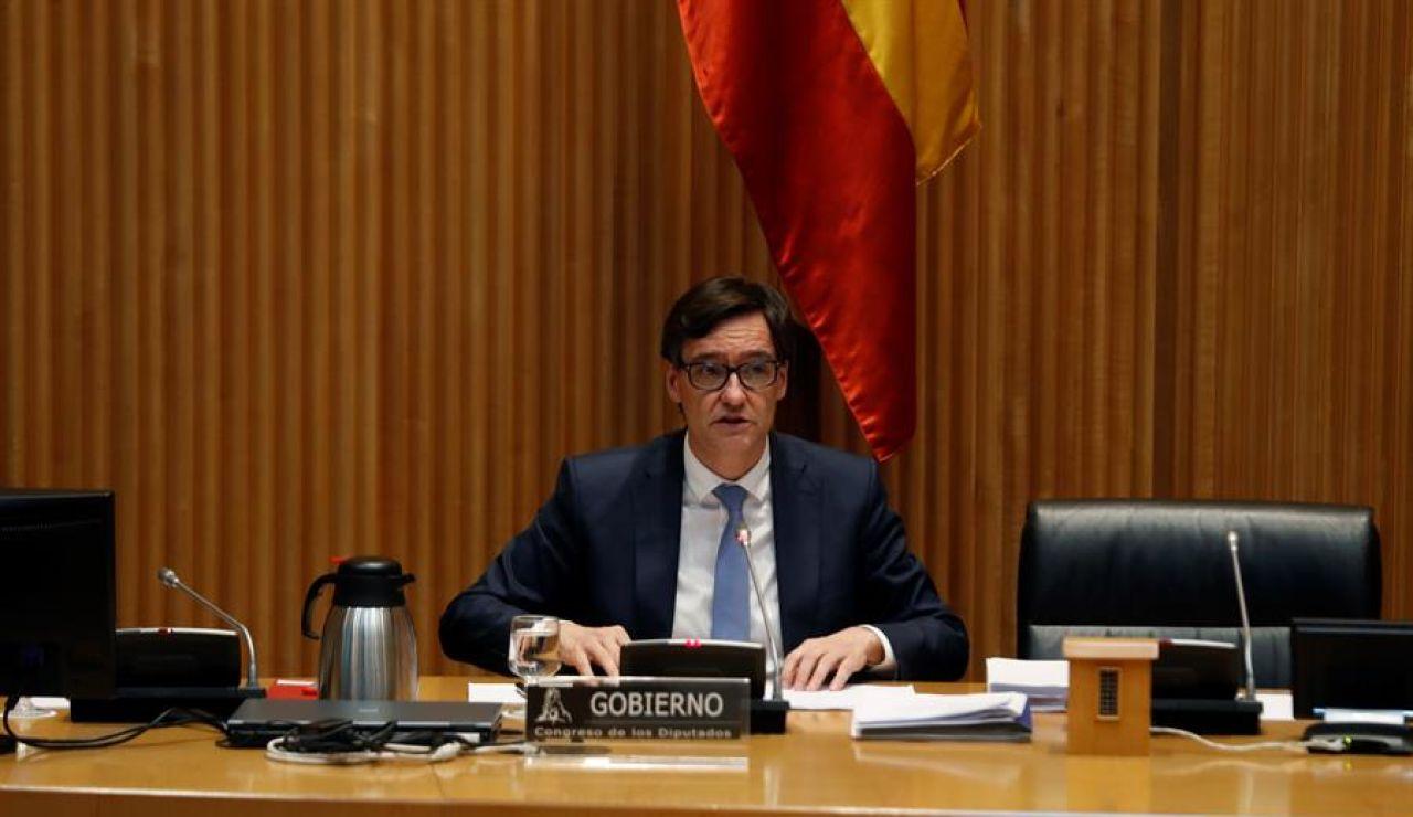 El ministro de Sanidad, Salvador Illa, explica en comisión parlamentaria la evolución de la pandemia del coronavirus, este jueves, en el Congreso de los Diputados.
