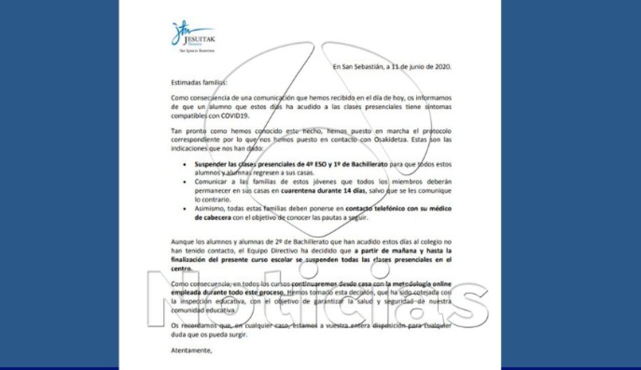 El desarrollo de síntomas compatibles con coronavirus en un alumno obliga a suspender clases en San Sebastián