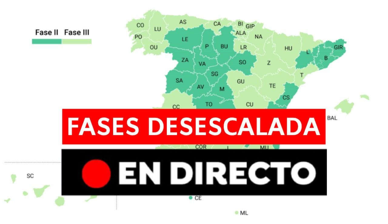 Coronavirus España: Provincias que pasan a fase 3 de la desescalada, nuevos casos, muertos y última hora, en directo
