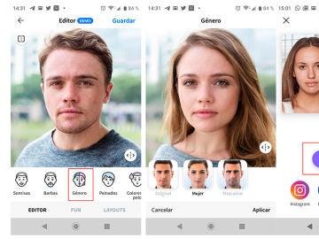 Filtro de género de FaceApp