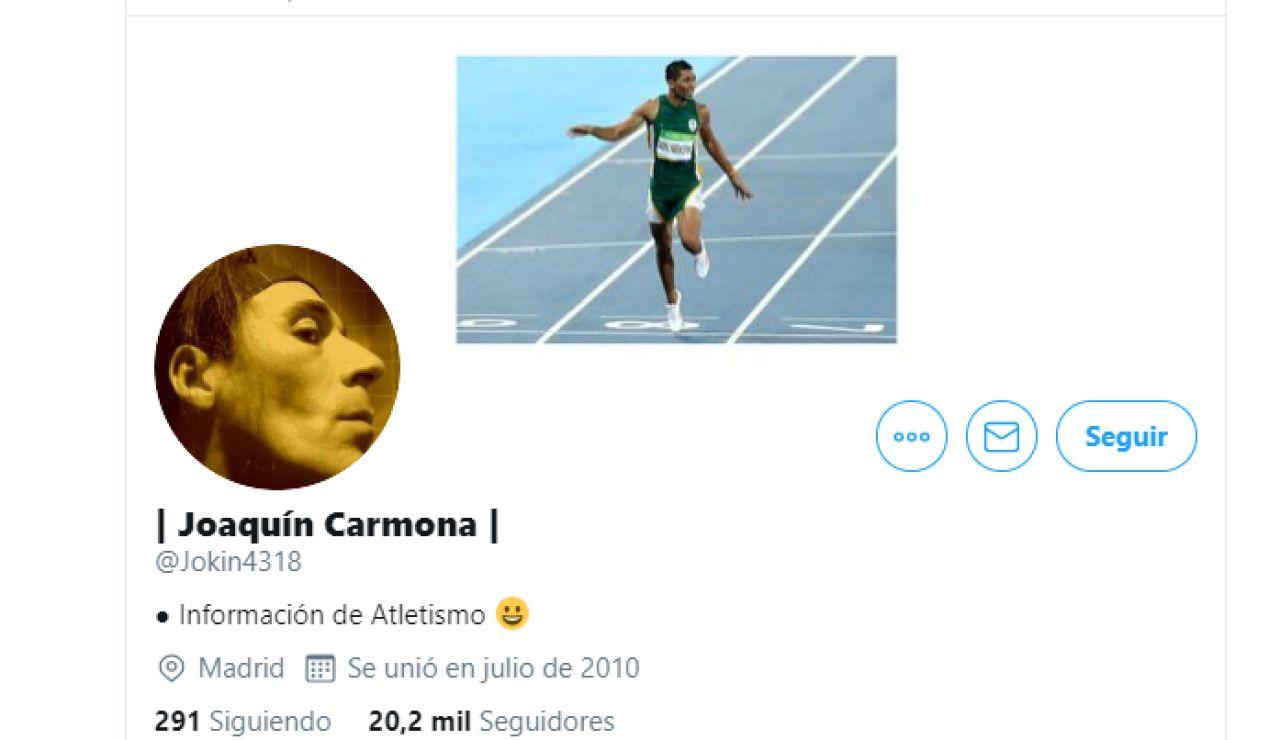 El perfil de Twitter de Joaquín Carmona