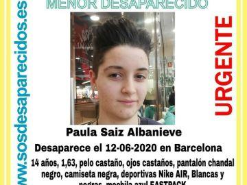 Paula, la joven desaparecida en Barcelona