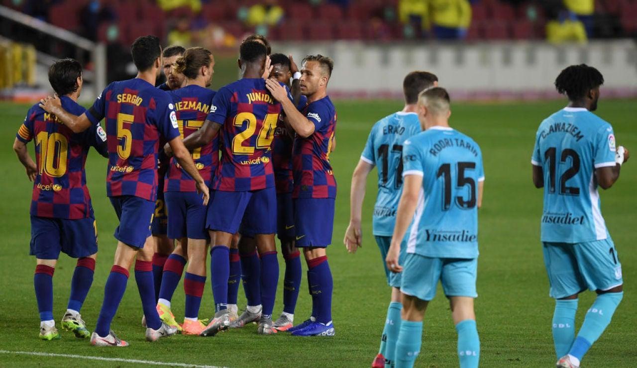 El Barcelona celebra el gol de Ansu Fati al Leganés