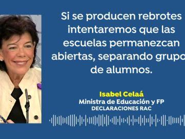 """Isabel Celaá: """"Si se producen rebrotes de coronavirus intentaremos que las escuelas permanezcan abiertas"""""""