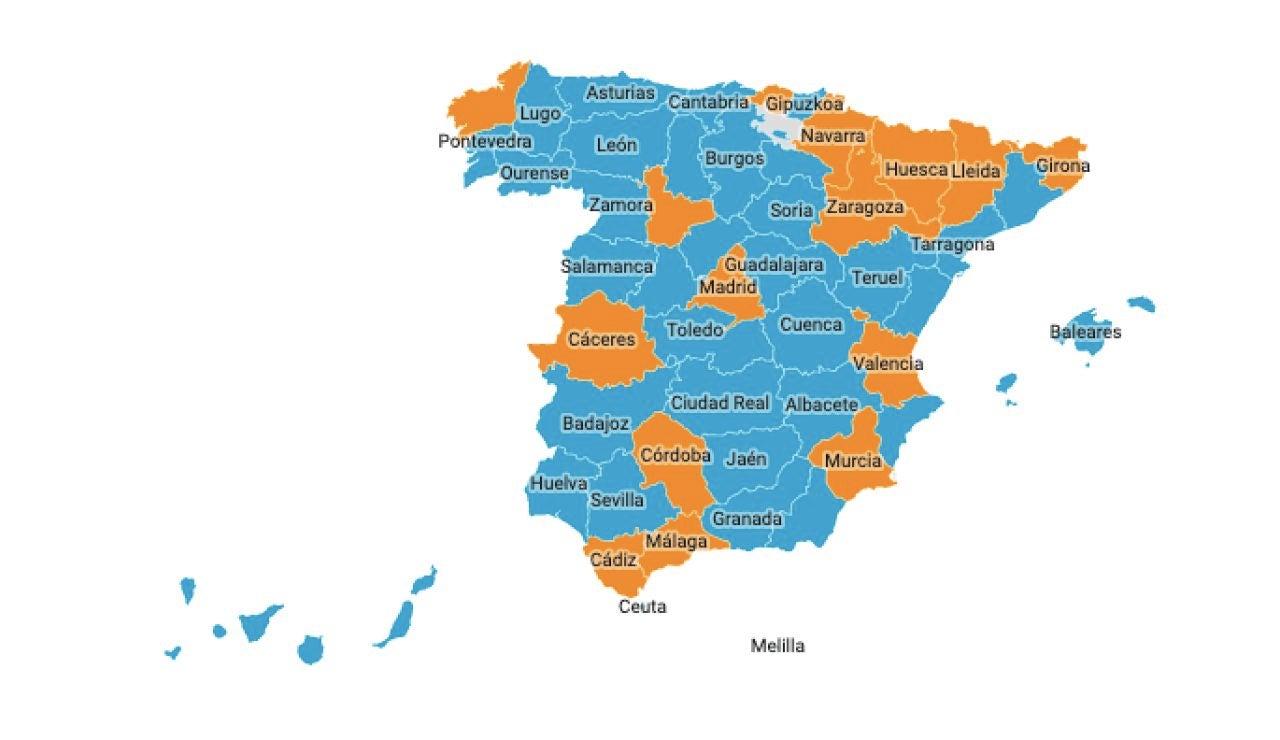 Mapa rebrotes España 24 de junio