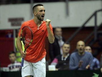 Victor Troicki, en un partido de Copa Davis