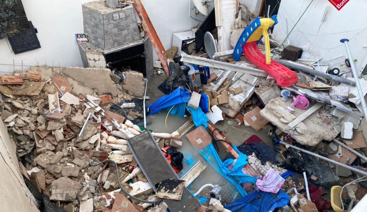Imagen del derrumbe de la vivienda en Elda