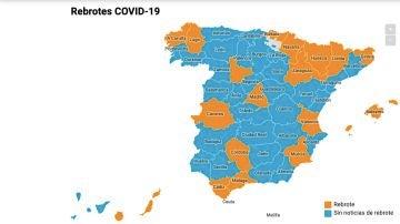 Mapa de rebrotes de coronavirus