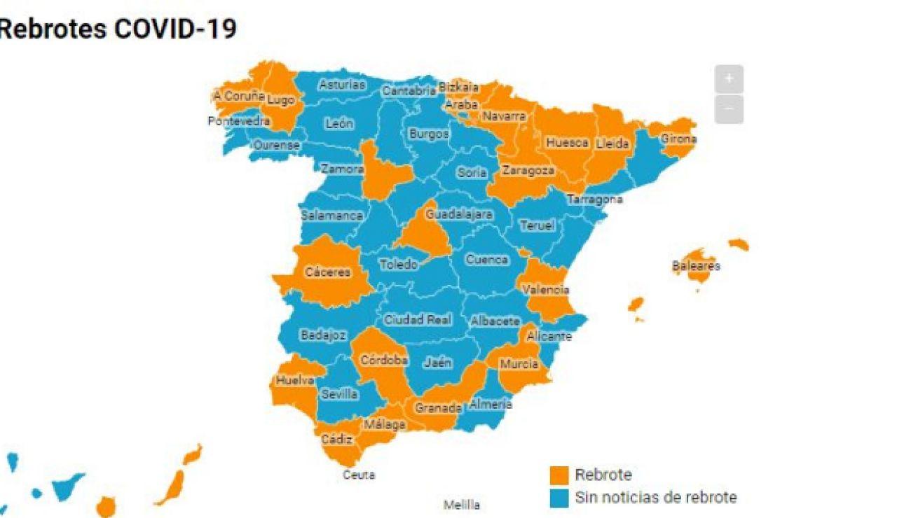 Mapa de los rebrotes en España