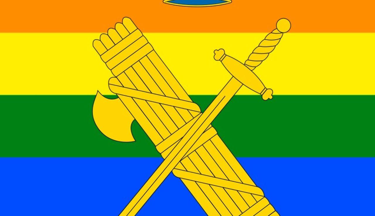 El escudo de la Guardia Civil sobre la bandera del arcoíris