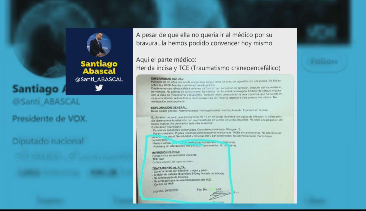Santiago Abascal publica el parte médico de Rocío de Meer
