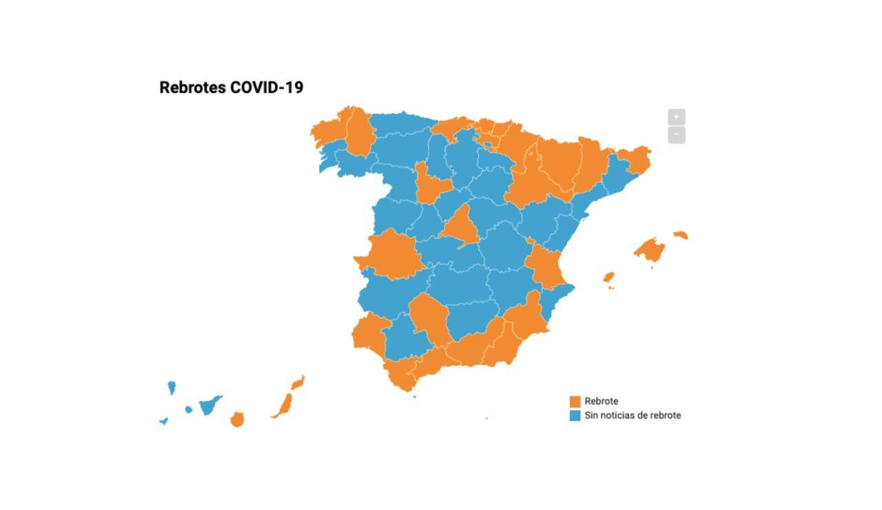 Mapa rebrotes coronavirus