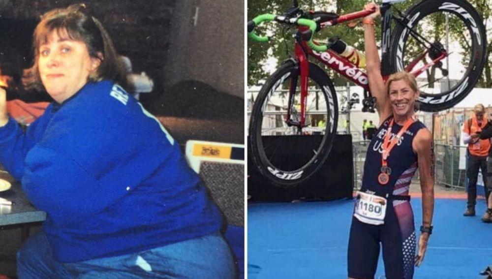 El cambio radical de Sue Reynolds, pierde 90 kilos y pasa de sufrir obesidad mórbida a triunfar en el triatlón