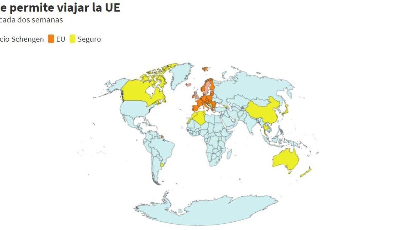 Países a los que permite viajar la Unión Europea