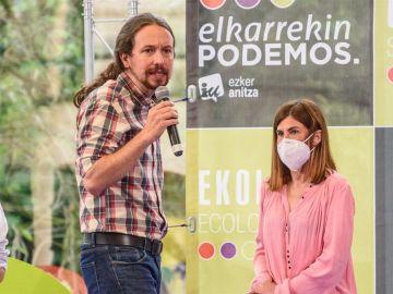 Pablo Iglesias en un acto de precampaña de las elecciones vascas en Bilbao