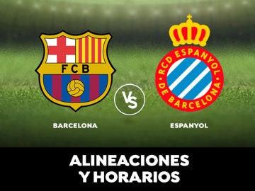 Barcelona - Espanyol: alineaciones, horario y dónde ver el partido de la Liga en directo