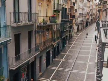 Calle vacía hoy 7 de julio sin sanfermines