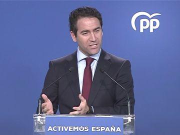 El secretario general del PP, Teodoro García Egea, responde que le preocupa Pablo iglesias cuando le preguntan por la investigación a un senador del PP