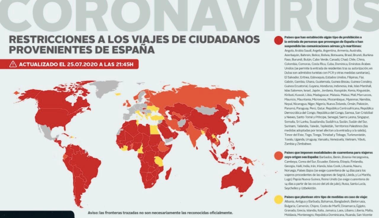 Exteriores actualiza el mapa de restricciones a los ciudadanos procedentes de España