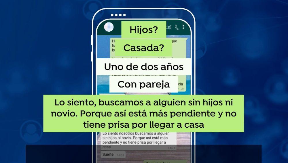 Polémica por la respuesta en Whatsapp a una oferta de empleo