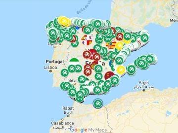 Mapa ríos, pantanos y playas de España