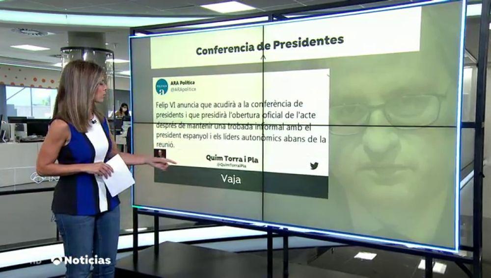 """Quim Torra responde con un """"vaya"""" a la noticia de que el Rey acudirá a la Conferencia de Presidentes del viernes"""