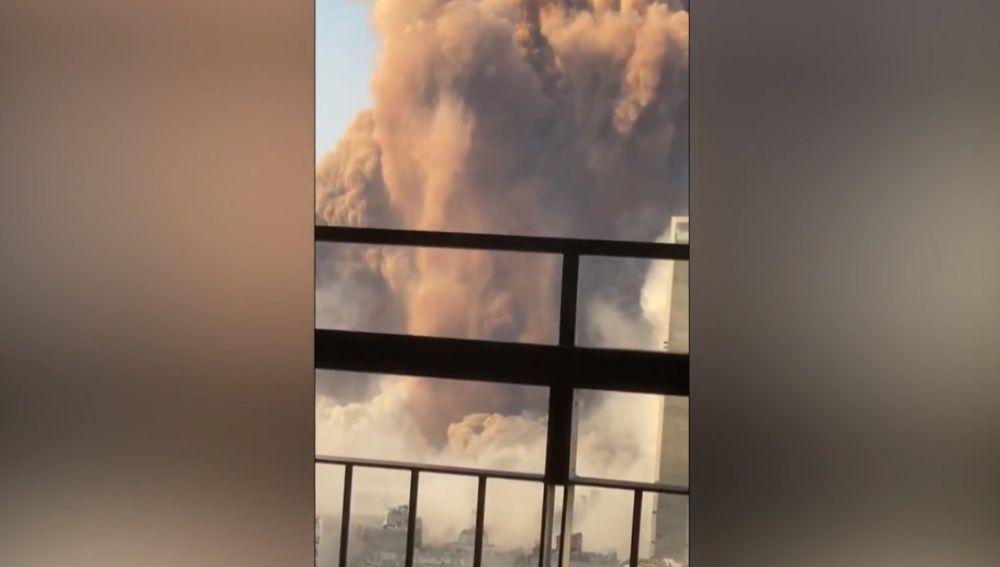 Momento de la explosión en Beirut, en Líbano