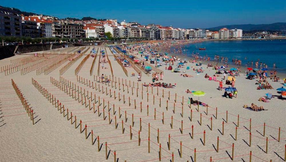 Vista de la playa de Silgar en Sanxenxo, Galicia
