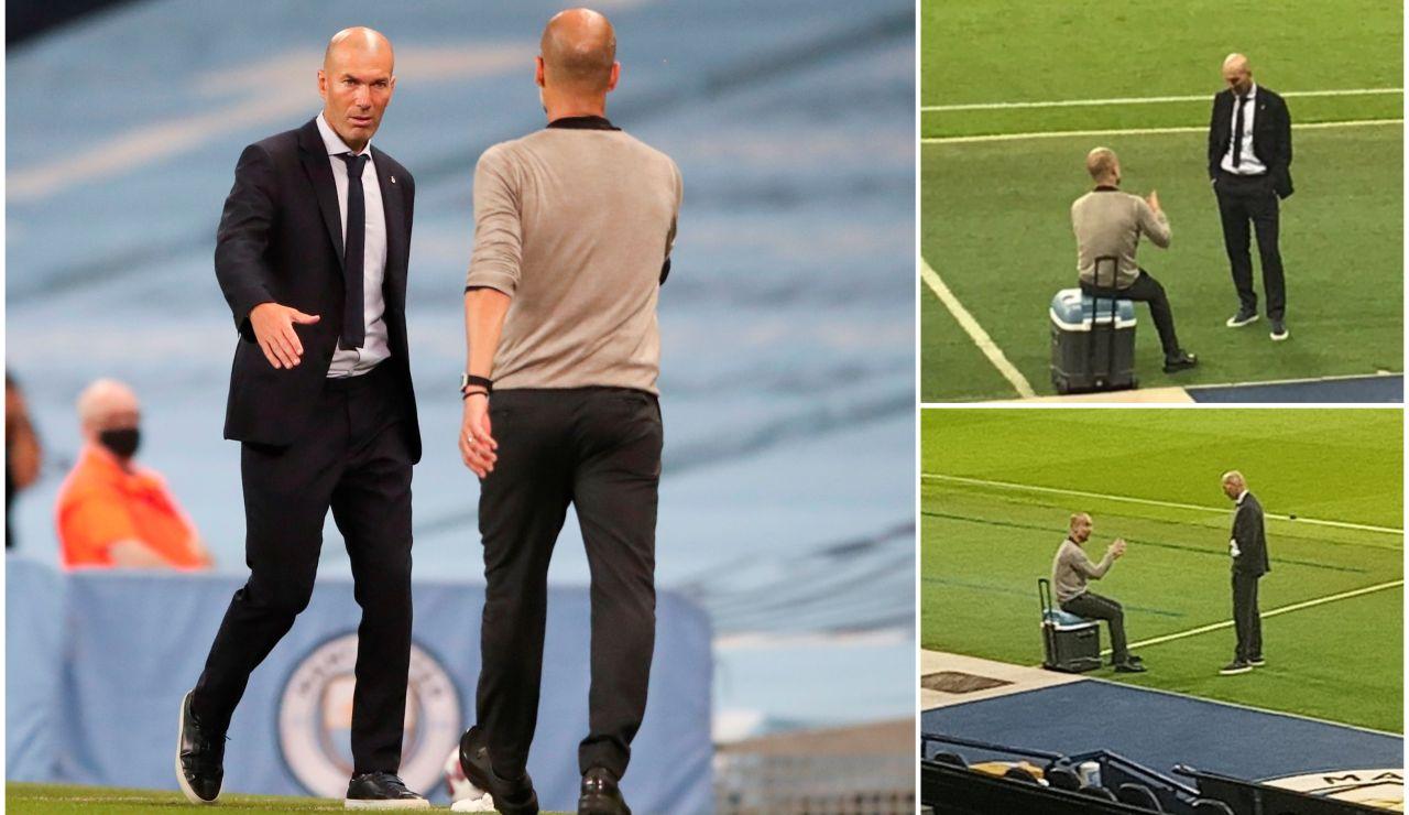 """La imagen viral de la charla entre Zidane y Guardiola tras la eliminación de los blancos: """"Ojalá podamos cenar un día"""""""