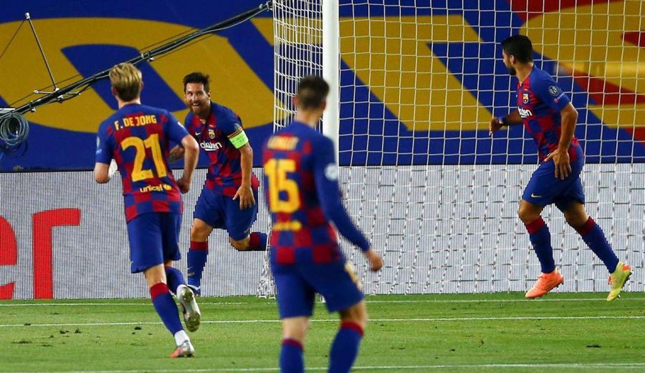 Leo Messi tras marcar un gol al Nápoles en el Camp Nou