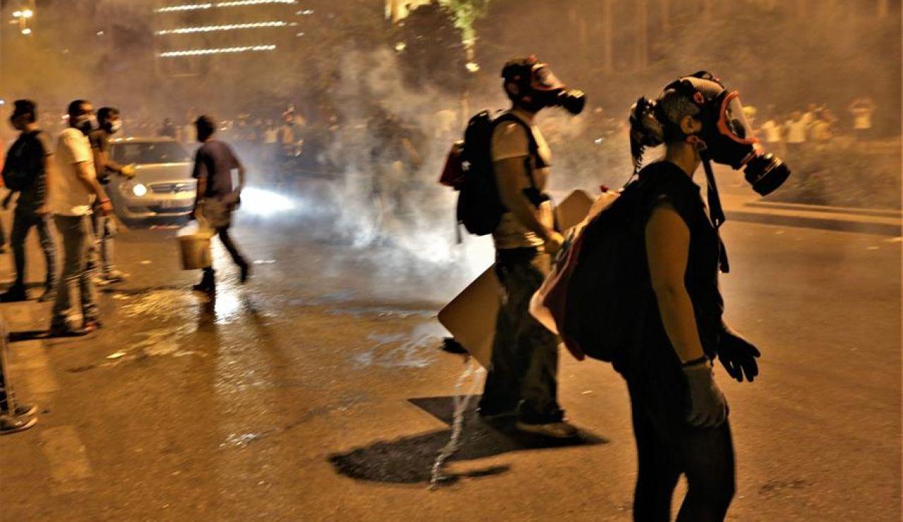 Manifestantes en Beirut