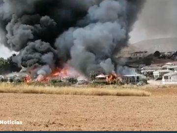 Incendio en un camping de Málaga