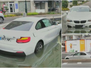 Un conductor termina dentro de una fuente y abandona el vehículo en Vigo